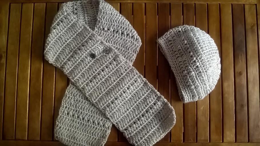 cómo realizar un conjunto de bufanda y boina bohemia en crochet o ganchillol
